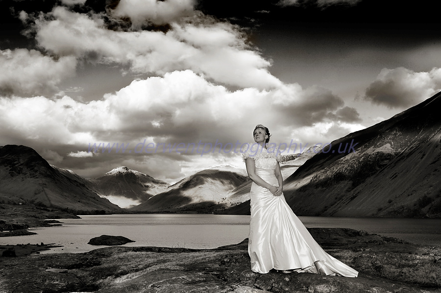 bride by wastwater, wasdale head wedding photograph