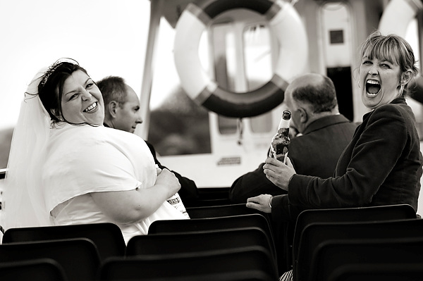 wedding party on the lake windermere cruise, by derwent photography