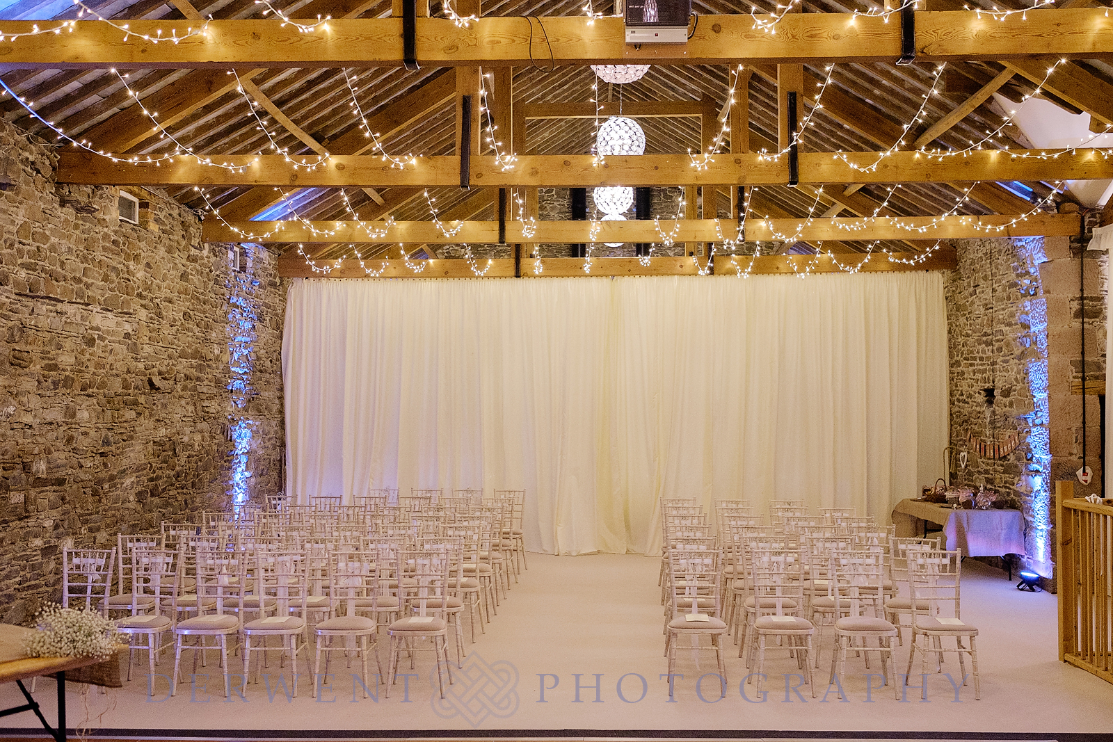 new house farm wedding barn dressed out for the wedding ceremony