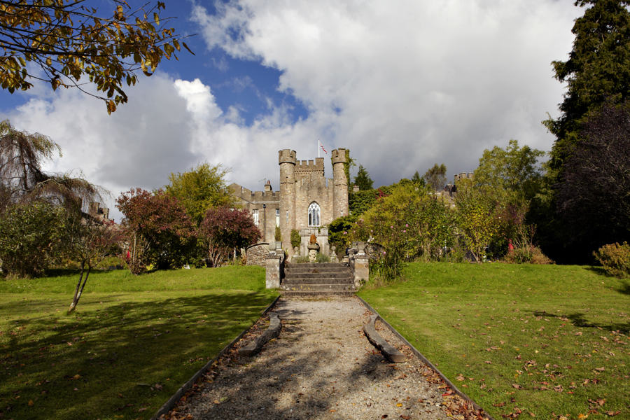 augill castle, a wedding venue on outskirts of the lake district, in the sun in early autumn