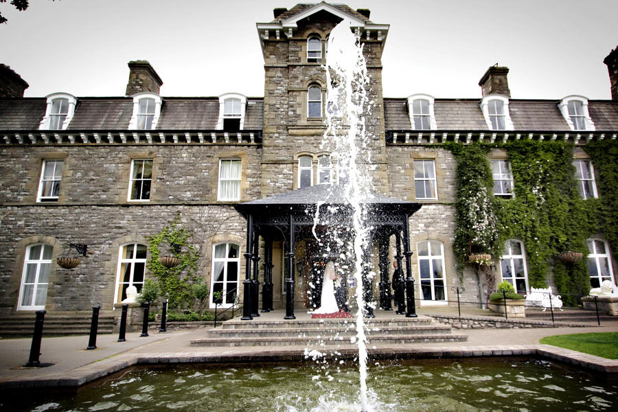 grange hotel wedding venue and its fountain