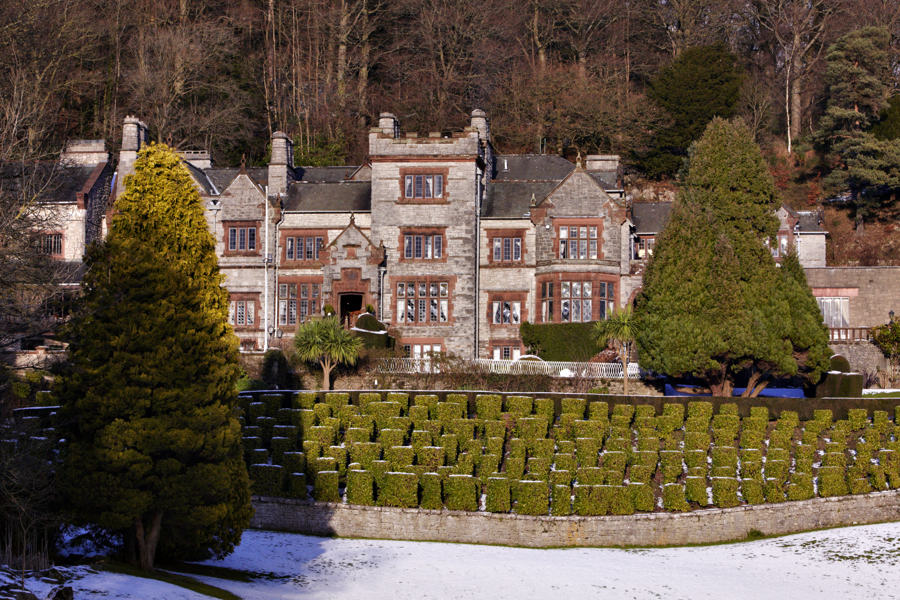 The Netherwood Hotel at Grange Over Sands in winter, looking across the lawns of this grand lake district wedding venue
